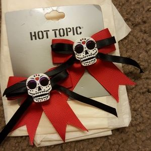Hot Topic sugar skull hair clips